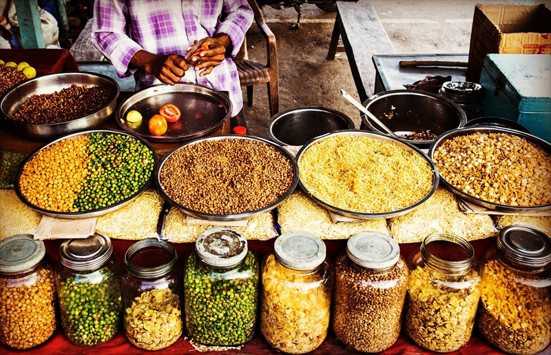 Indian cuisine in the South is spicy and tropical.